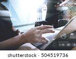 two colleague web designer... | Shutterstock . vector #504519736
