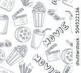 hand drawn cinema doodle sketch ... | Shutterstock . vector #504522136