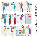 set of peoples on store sale.... | Shutterstock . vector #504530998