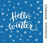 hello winter text  knitting... | Shutterstock .eps vector #504548422