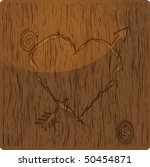 Heart Shape With Arrow Carved...