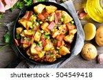 Fried Potato In Frying Pan  To...
