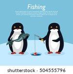 fishing banner. penguin animals ... | Shutterstock .eps vector #504555796