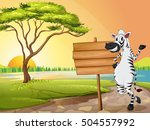 Scene With Zebra And Wooden...