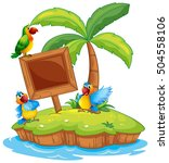 scene with three parrots on... | Shutterstock .eps vector #504558106