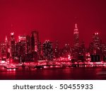 A high contrast red toned view of the New York City Skyline. - stock photo