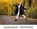 girl fun autumn | Shutterstock . vector #504562462