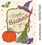 happy halloween  hand drawn... | Shutterstock .eps vector #504567565