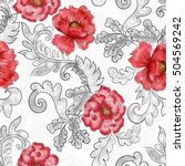 seamless pattern with red...   Shutterstock . vector #504569242