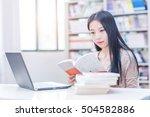 beautiful asian female student... | Shutterstock . vector #504582886