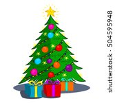 christmas tree with gifts...   Shutterstock .eps vector #504595948