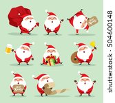 collection of christmas santa... | Shutterstock .eps vector #504600148