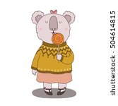 card with koala and candy | Shutterstock .eps vector #504614815