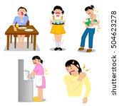 woman's stiff neck backache etc.... | Shutterstock . vector #504623278