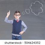 smart little boy in front of a... | Shutterstock . vector #504624352