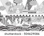 zendoodle castle landscape for...   Shutterstock .eps vector #504629086