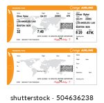 airline boarding pass with qr... | Shutterstock .eps vector #504636238