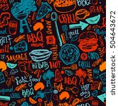 bbq barbecue grill doodle... | Shutterstock .eps vector #504643672