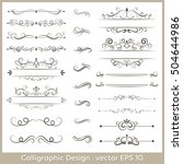 set of calligraphic vintage... | Shutterstock .eps vector #504644986