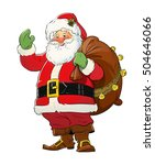 santa claus with gift sack.... | Shutterstock . vector #504646066