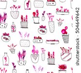pink cacti seamless pattern ...   Shutterstock . vector #504649642