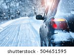 car on winter road in the... | Shutterstock . vector #504651595
