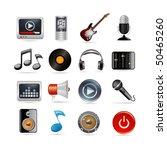 set of sixteen music icons