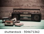 old cassette tape and player on ... | Shutterstock . vector #504671362