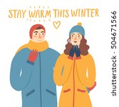 Cartoon Pair In Winter Clothes...