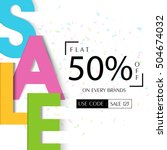 colorful creative sale text ... | Shutterstock .eps vector #504674032