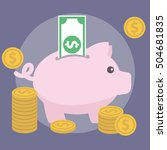 piggy bank  money and finance... | Shutterstock .eps vector #504681835