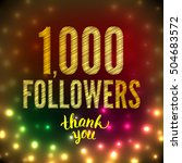 vector thank you 1000 followers ... | Shutterstock .eps vector #504683572