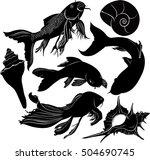 Set Of Silhouettes Of Aquarium...