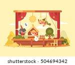 performance children on scene | Shutterstock .eps vector #504694342
