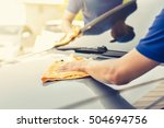 auto service workers polishing  ... | Shutterstock . vector #504694756