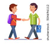 two boys standing and shaking... | Shutterstock .eps vector #504696112