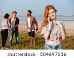 cheerful redhead young woman... | Shutterstock . vector #504697216
