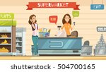 supermarket store cashier and... | Shutterstock .eps vector #504700165