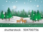 deer in the forest with... | Shutterstock .eps vector #504700756