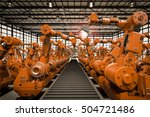 3d rendering robotic arms with... | Shutterstock . vector #504721486
