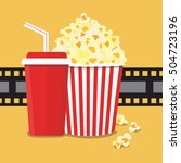 popcorn and drink. film strip... | Shutterstock .eps vector #504723196