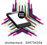 mobile phone icon with trendy... | Shutterstock .eps vector #504734356