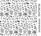 warli painting seamless pattern ... | Shutterstock .eps vector #504738736