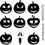 halloween pumpkin set. vector... | Shutterstock .eps vector #504741172