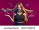 glamourous female stylist with... | Shutterstock . vector #504742876