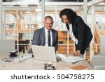 mature businessman and young... | Shutterstock . vector #504758275