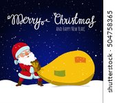 santa claus dragging big sack... | Shutterstock .eps vector #504758365
