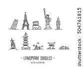 landmarks. travel. doodles.... | Shutterstock .eps vector #504761815