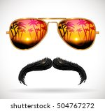 sunglasses reflecting tropical... | Shutterstock .eps vector #504767272