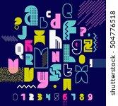 80s retro alphabet banner.... | Shutterstock .eps vector #504776518